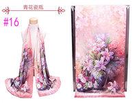 Chinese PanKou style Pink shawl inkjet printing flower vase double-sided painting silk scarf #16