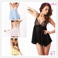 Sexy Lace Chiffon Erotic women's Pajamas Sleepwear Nightwear Brand Babydolls With Thong For Woman Dress Lingerie 2014 New