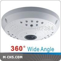 360 Degree Full View wall Mounted Fisheye IR IP Camera  Support TF Card Record