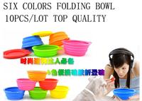 Folding silica gel pet portable dog bowl utensils fanpen rubber bowl outdoor dog bowl water bowl  dropshipping