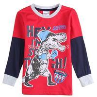 New European style boy clothes / children long sleeve dinosaur print cotton T-shirt / kids spring autumn coat