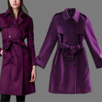 2014 New Arrival Winter Disigner Brand Women High Fashion Purple Double Breasted Button Turn Down Collar Thick Cashmere Blends