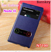 Original Authentic S-View Window Case for Samsung Galaxy Note II 2 N7100 N7108 Luxury Flip PU Leather Cover For Galaxy Note 2 II