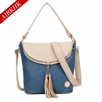 Genuine leather women's handbag colorant match all-match mother bag women's messenger bag tassel decoration one shoulder handbag