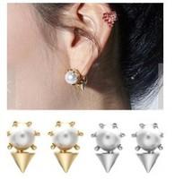 Wholesale 12pairs/lot Illusion Ear Fake Cheater Rock Punk Spike Rivet Taper Earrings Men Women C30R16C