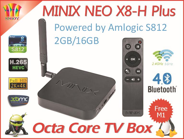 New MINIX X8-H Plus Dual WIFI Android 4.4 Amlogic S812 Quad Core 2G/16G Ultra HD H.265 2160P XBMC IPTV Android Smart Tv Box(China (Mainland))