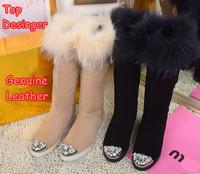 M Top Designer Rhinestone Women Fox Fur Snow Boots Winter Fashion Suede Ladies Brand Warm Footwear Wool High Quality Nude Flats