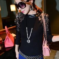 Hot Sale !  Autumn Winter Lady T Shirt Blouse Cotton Lace Shirt Patchwork O-Neck Long  Sleeve Fashion  Women Tops Shirts   E5151