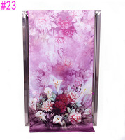 Unique Chinese PanKou style Voilet shawl inkjet printing Butterfly flower double-sided painting silk scarf #23
