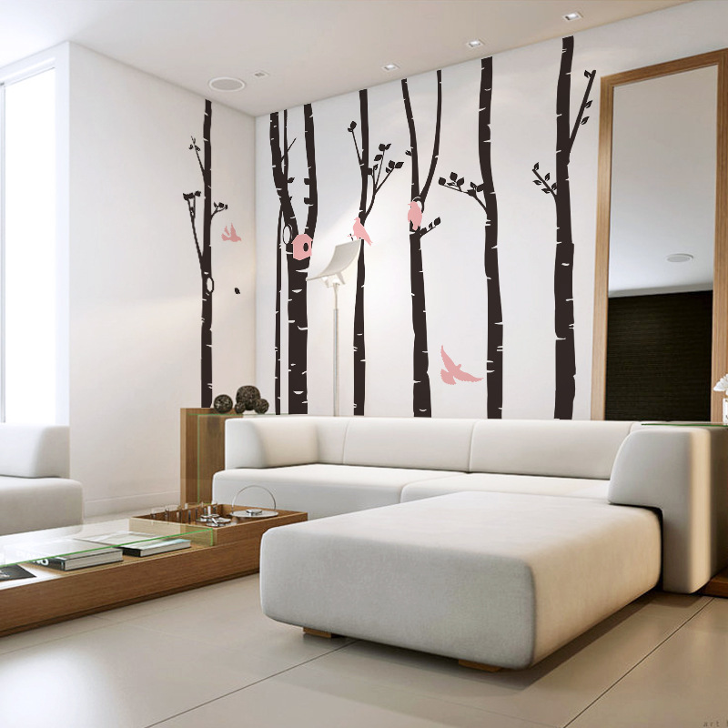 8262 new 3D Sticker King 246 * 230 Australia forest birds living room bedroom backdrop DIY stickershome decoration creative wall(China (Mainland))