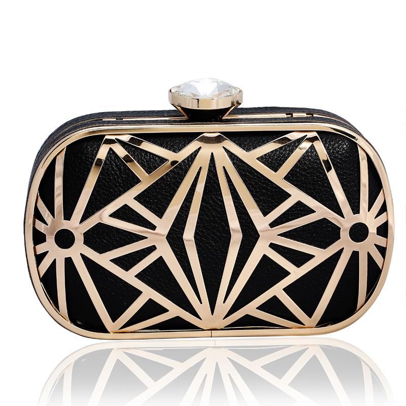 2014 new women's sac en cuir dames satin de cristal embrayage sacs de soirée de mode en métal creux sac à bandoulière pour les femmes