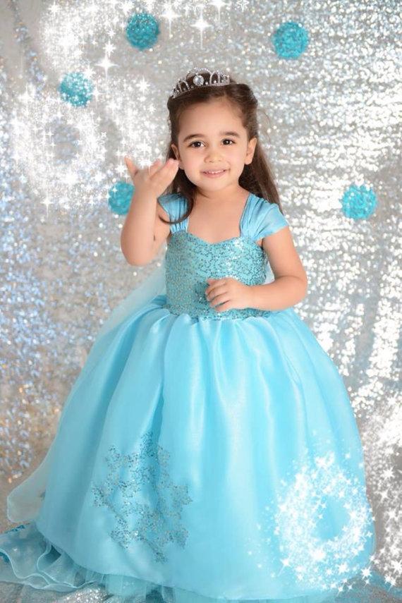 Elsa Dress Custom made Movie Cosplay Dress Summer Anna Girl Dress Frozen Princess Elsa Costume blue shawl sequined Dress Nw374(China (Mainland))