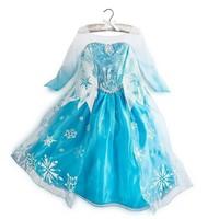 Retail 2014 summer Frozen dress, kids party dress, Animated cartoon dress, baby girls long-sleeved frozen elsa&anna dress