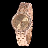 Unisex Fashion Ladies Rhinestone Watch Rose Gold/Gold Stainless Steel Watches Quartz Women Item