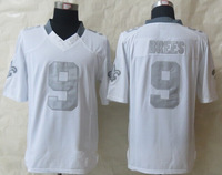 Free Shipping 2014 New #9 Brees Platinum White Limited Jerseys size 48-56 mix order