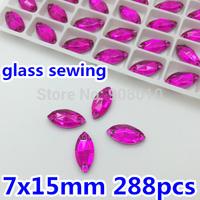 288pcs/box 7x15mm Fuchsia Rose Color Navette Sew On Glass Rhinestones Crystal Flatback Marquise Sewing Crystal 2 Holes