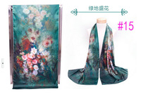 Chinese PanKou style Green shoots shawl inkjet printing Flowers double-sided painting silk scarf #15