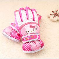 Korea cute Hello Kitty girls thick warm autumn and winter plus velvet child gloves ski gloves