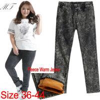 Plus Size Denim Cotton Snowflake Desigual Women Jeans Pants Big Size Winter Fleece Pencil Skinny Jean