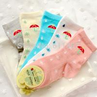 20pcs=10pairs children socks candy color umbrella drip-drop cotton male female child socks
