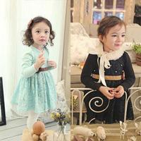 2-8Y Princess Children's Dresses Children's Dresses Evening Girls Dresses Cotton&Lace 2014 New Chldren's clothing Free Shipping