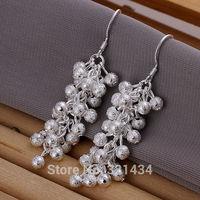 Hot Fashion  925 Sterling Silver womens women Female earrings hook Frosted bead drop dangles girl friend birthday gift box KE-07