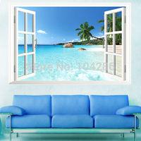 Coast Scenery Wall Sticker Windows View Beach Ocean Wall Decor Sea Shore Wall Decals Free Shipping
