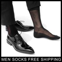 High quality  men Formal Silk socks Black sheer Jacquard Socks for male Sexy Foot Socks Black Retail Free shipping
