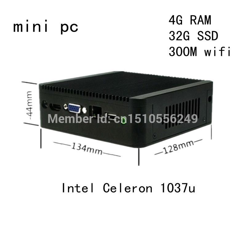 thin client mini pc 4gb ram 32gb ssd support windows/linux HD VGA HTPC Computer celeron 1037U dual core 1.8GHz(China (Mainland))