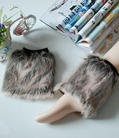2014 WINTER FASHION THICKER FURRY FAUX FUR LEG WARMERS SHOES ANKLE BOOTS TOPPER COVER 15cm WOMEN LADY Party Show Chrstimas Gift