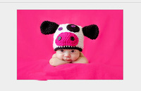 Promotion Baby Milk Cow Design Photography Props Infant Toddler Winter Warm Cute Cartoon Animal Hat Handmade Knitted Beanie Cap