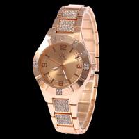 Free Drop Shipping Wholesale ELegant Fashion Rose Gold Stainless Steel Women Crystal Watch Ladies Quartz Wrist Watches