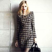 2014 European&American Style women autumn winter dress slim long-sleeve vestidos houndstooth plaid casual OL office dress