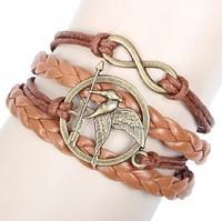 Fashion simple wings cross Infinity bracelet Charm Leather Multilayer Bracelet jewelry european charm bracelet