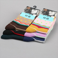 Candy colors cotton new design women's socks with high quality Winter Stitching color Dot Solid design media socking   3167