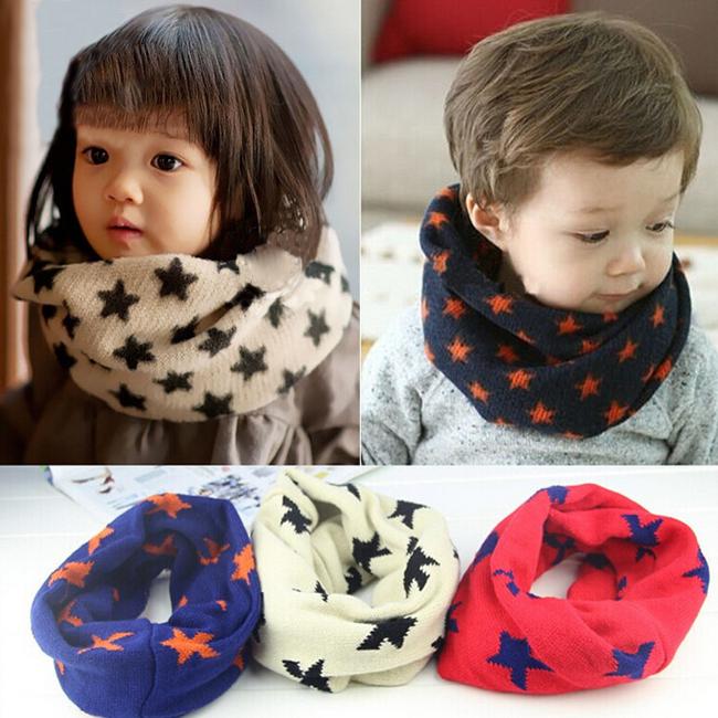 Kid Baby Winter Scarf Children Neckerchief Toddler Knitted Woolen Neck Warmer Five Star Scarf O Ring Scarf Shawl(China (Mainland))