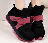 2014 free shippingWinter new shoes leisure shoes with thick bottom Velcro increased warm boots low shoes to help studeSneakers