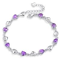 2014 New 100% Sterling Silver 925 Jewelry Heart-shaped Bracelets & Bangles Fine Jewelry Free Shipping !!!