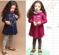 Free shipping 1pcs retail 3~10 age cotton woven purple/navy cute knee length princess casual girl dress