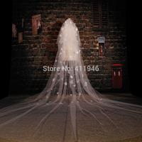 2015 White bridal veil long 3.5 meters veil applique adornment