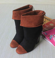 2014 hot  selling velvet color block  high heel sleeve marten boots single boots medium-leg boots free shipping