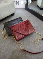 Hot New 2015 Crocodile Leather Women Handbag Envelope Messenger Bags Small Chain Shoulder Bag Pure Fashion Desigual Cluth