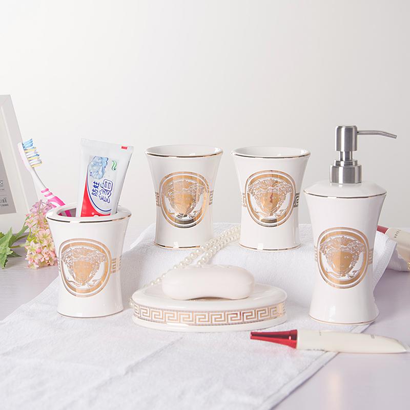 Free shippingJane European Cups Five-piece ceramic bathroom suite bathroom suite wash teeth with toiletries kit(China (Mainland))