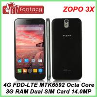 Original ZOPO 3X ZOPO ZP999 MTK6595M Octa Core 2.0GHz 3GRAM 14MP 5.5'' Gorilla Glass 1080P 4G FDD LTE WCDMA GPS NFC OTG Dual SIM