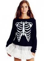 2014 Stylish Skeletons Printed Sweatshirt Women Hoody High Street Sport Suit Casual Hoodies CottonTracksuit For Women sudaderas