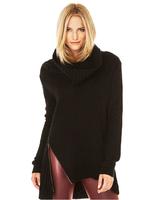 2014 New Fashion autumn/winter women's loose Turtleneck knit Sweaters women full sleeve black zipper sweaters  Plus Size XS-XXL