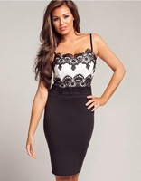 European Style Strap Lace Low-Cut Dress Black And White Patchwork Figruing Sexy Party Wome Clothing