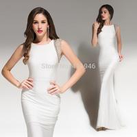 2015 designers of original design!Simple fashion floor length white collar close - fitting PROM dress