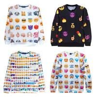 new 2015 fashion men/women sweater shirts Harajuku printed cartoon emoji casual sweatshirts autumn pullover hoodies white/black