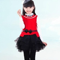 New Year Christmas Girls vest dress Kids Woolen Princess dresses Girl Sleeveless Lace dress